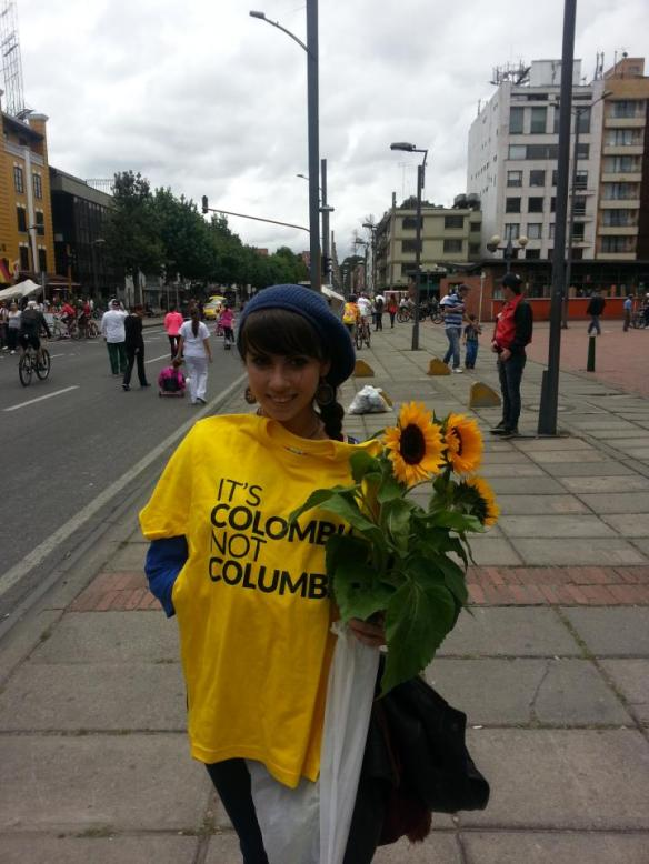 "Yesterday, I won this awesome t-shirt from the folks over at the ""It's Colombia, Not Columbia"" campaign. And all I had to do was bring them a sunflower!"